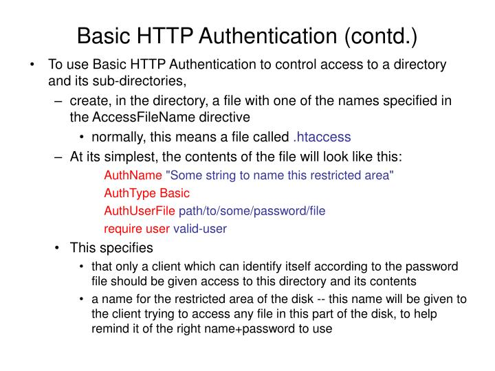 Basic http authentication contd
