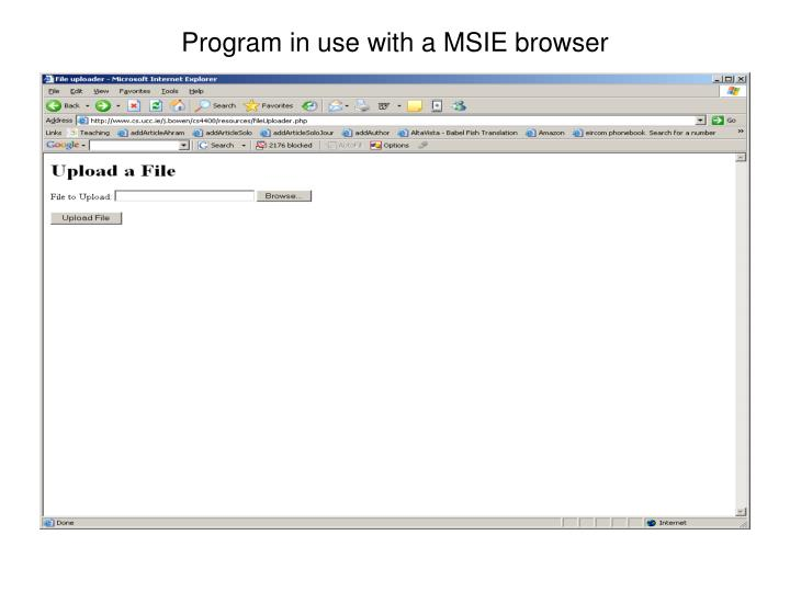 Program in use with a MSIE browser