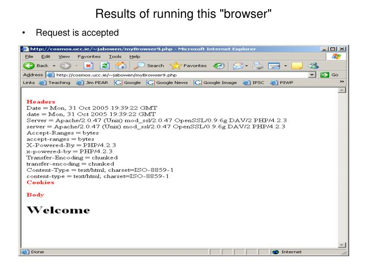 """Results of running this """"browser"""""""