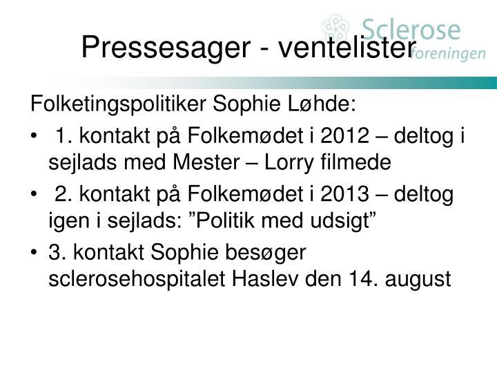 Pressesager - ventelister