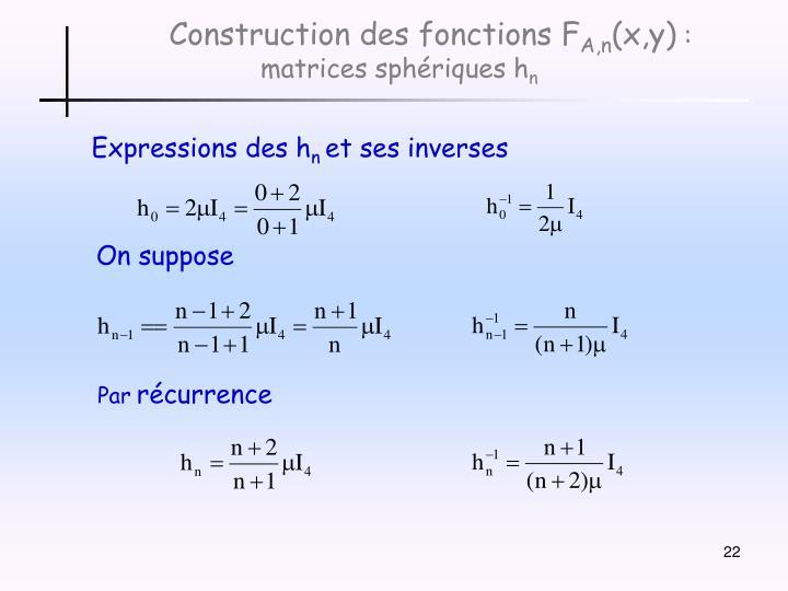 Construction des fonctions F