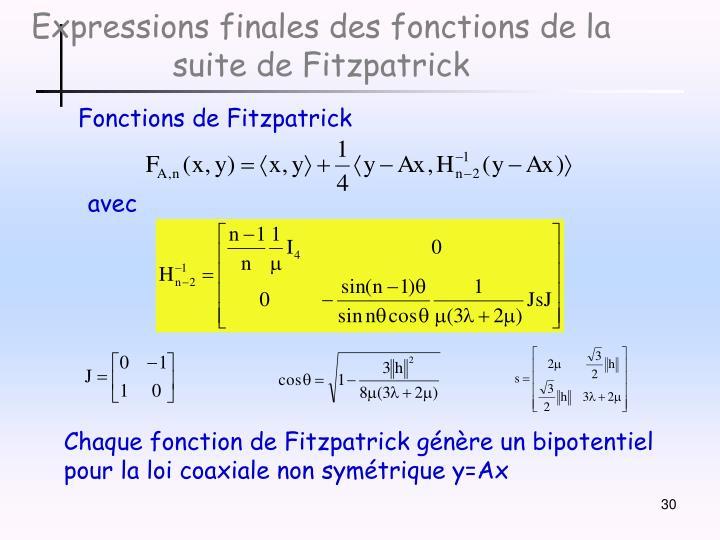 Expressions finales des fonctions de la suite de Fitzpatrick