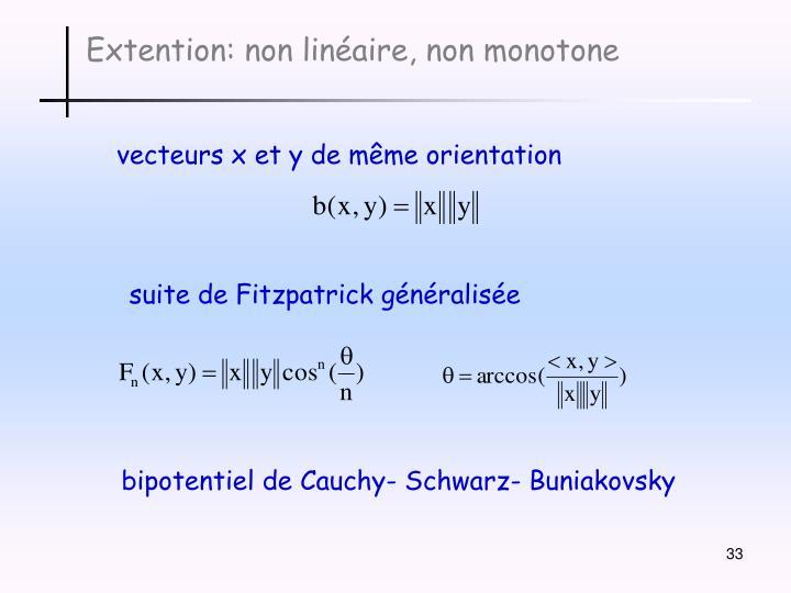 Extention: non linéaire, non monotone