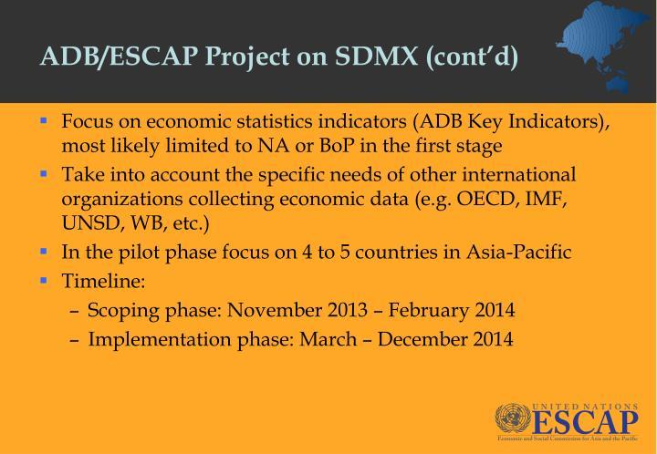 ADB/ESCAP Project on SDMX (cont'd)