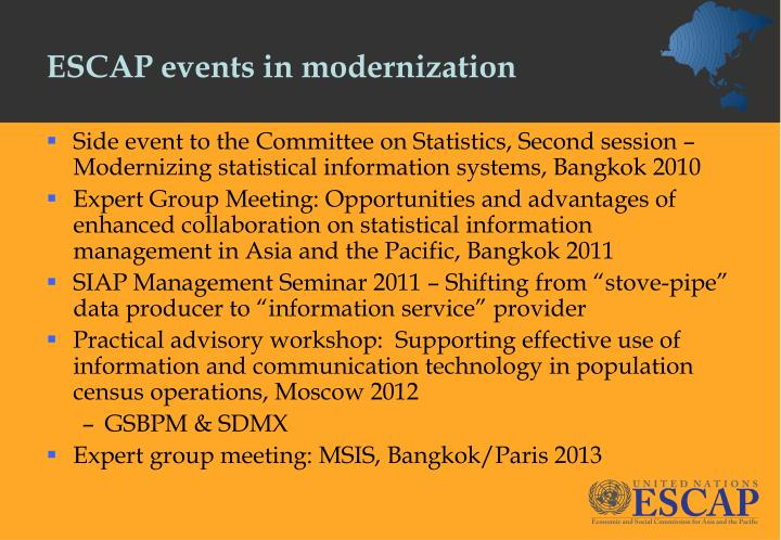 Escap events in modernization