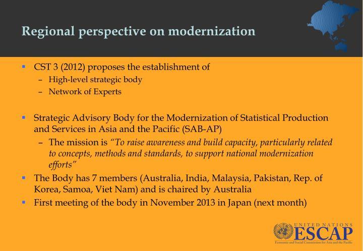 Regional perspective on modernization