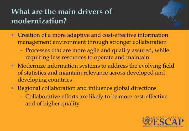 What are the main drivers of modernization