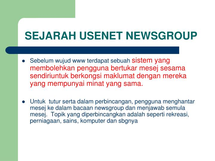 Sejarah usenet newsgroup