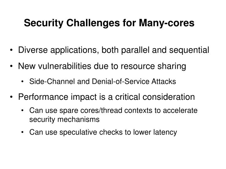 Security Challenges for Many-cores