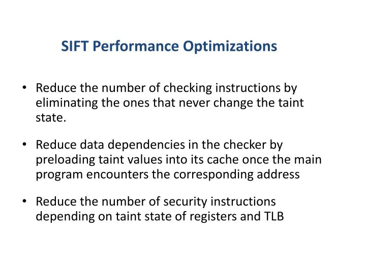 SIFT Performance Optimizations