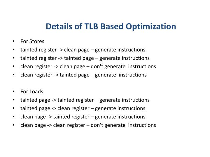Details of TLB Based Optimization