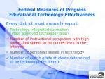 federal measures of progress educational technology effectiveness