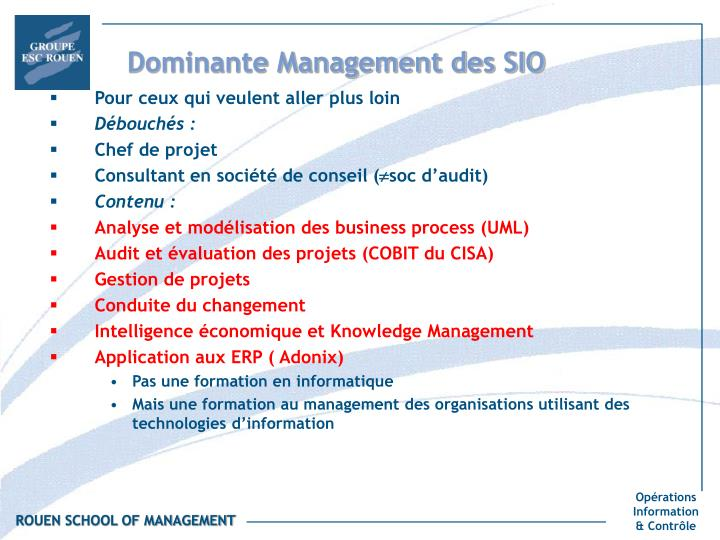 Dominante Management des SIO
