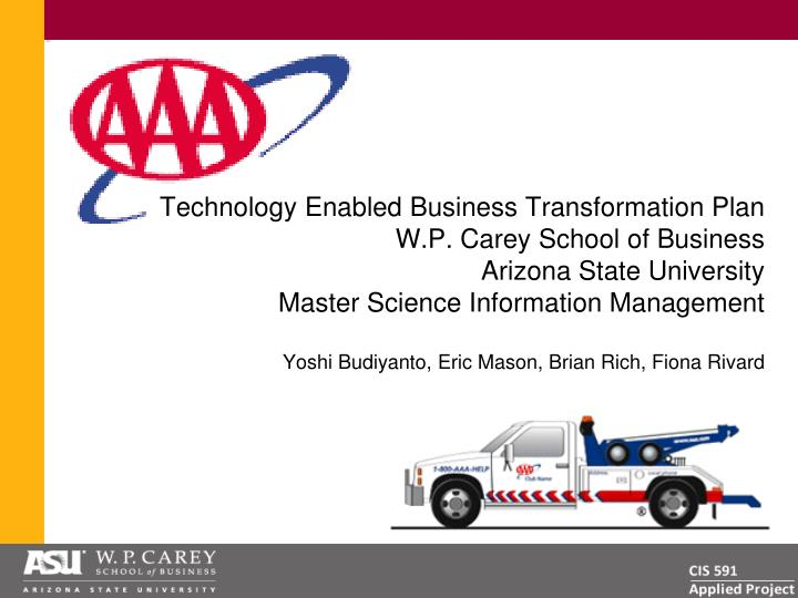 Technology Enabled Business Transformation Plan