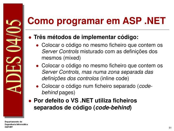 Como programar em ASP .NET
