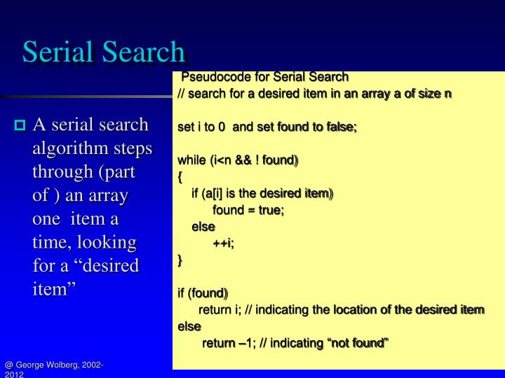Serial Search