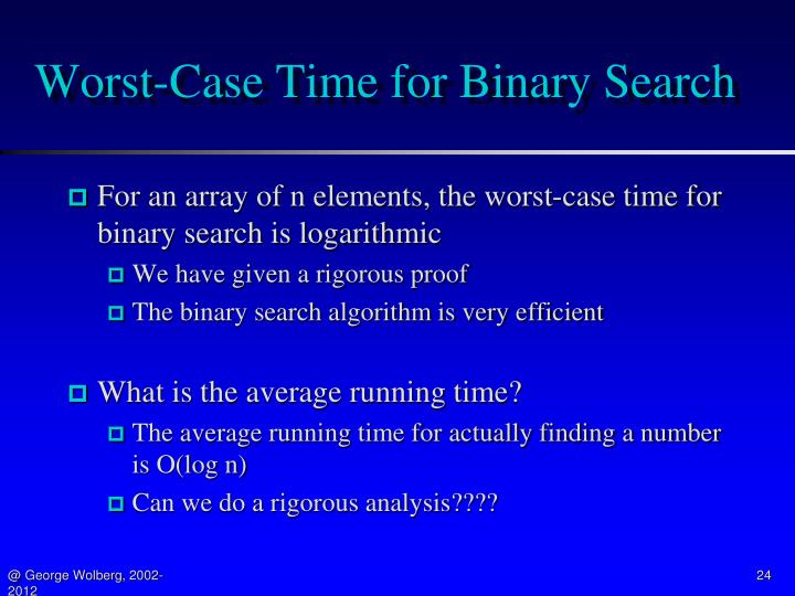 Worst-Case Time for Binary Search
