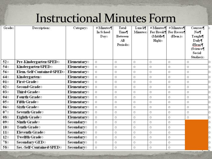 Instructional Minutes Form