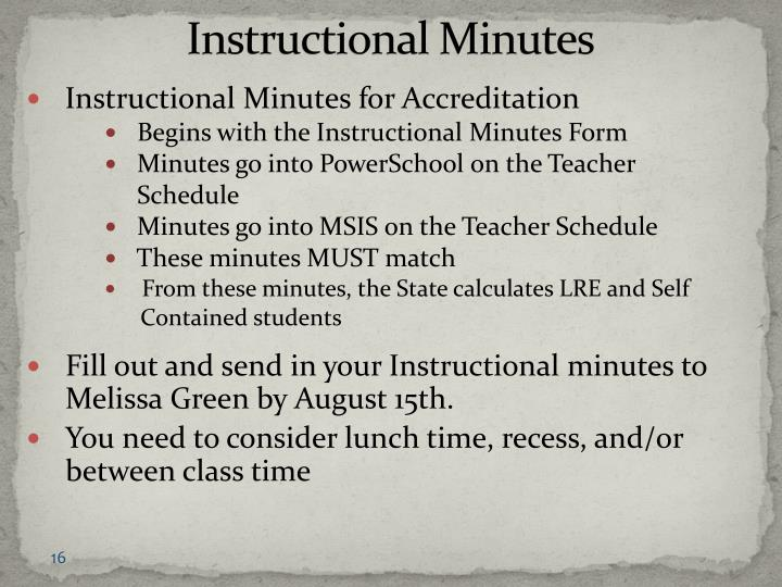 Instructional Minutes