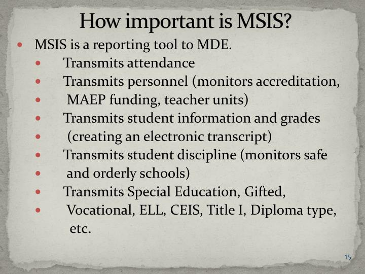 How important is MSIS?