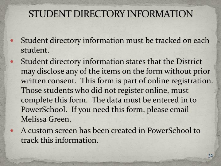 STUDENT DIRECTORY INFORMATION