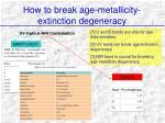 how to break age metallicity extinction degeneracy