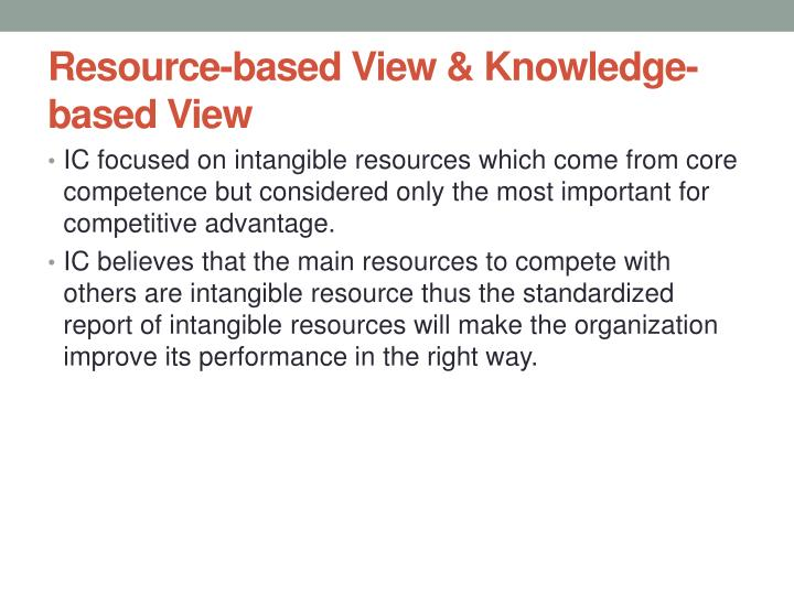 Resource based view knowledge based view
