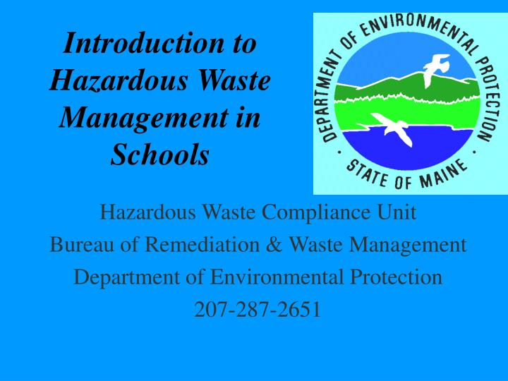 introduction to hazardous waste management in schools n.