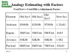 analogy estimating with factors