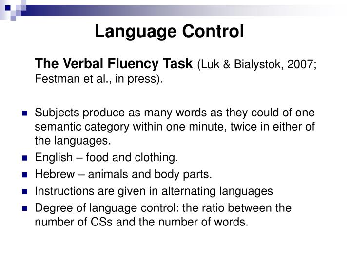 Language Control