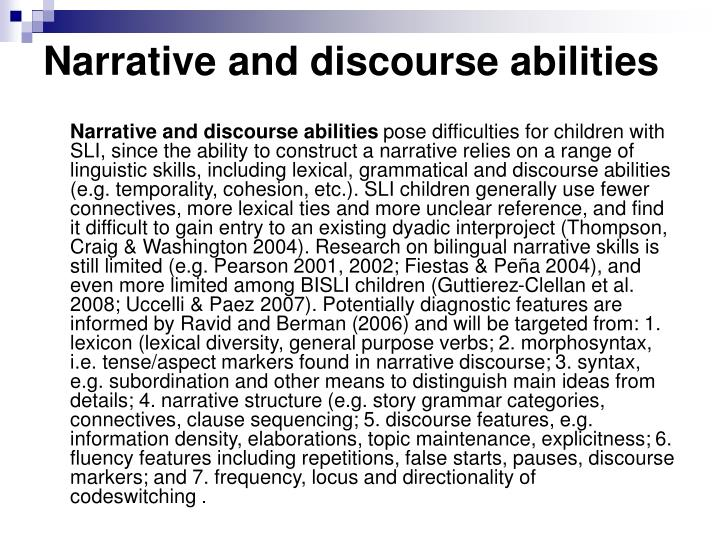 Narrative and discourse abilities
