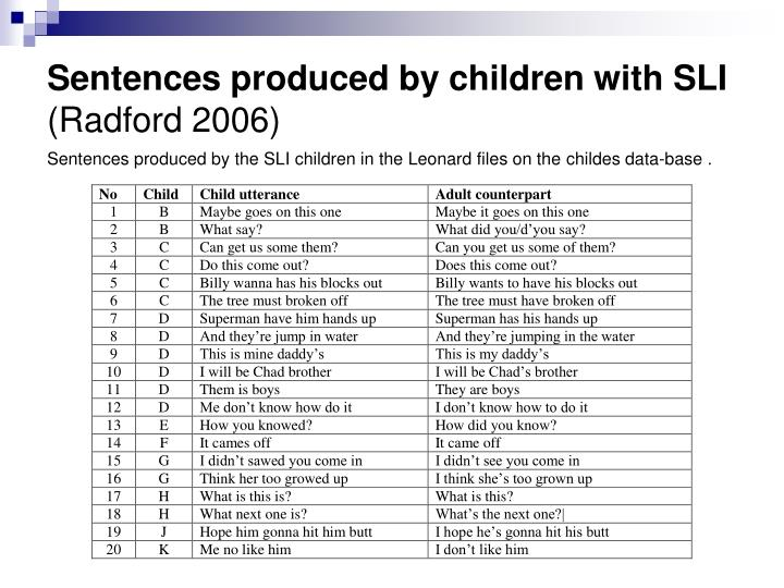 Sentences produced by children with SLI