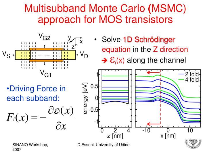 Multisubband monte carlo msmc approach for mos transistors