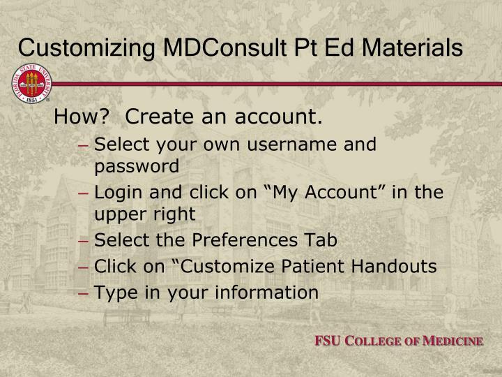 Customizing MDConsult Pt Ed Materials