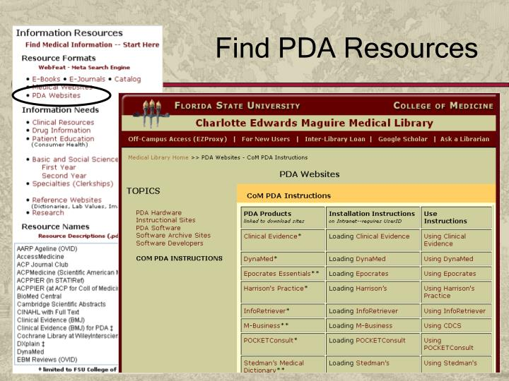 Find PDA Resources