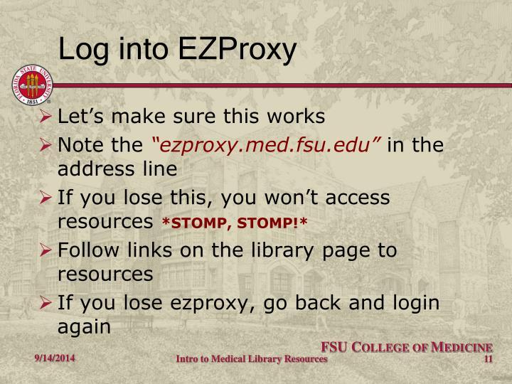 Log into EZProxy