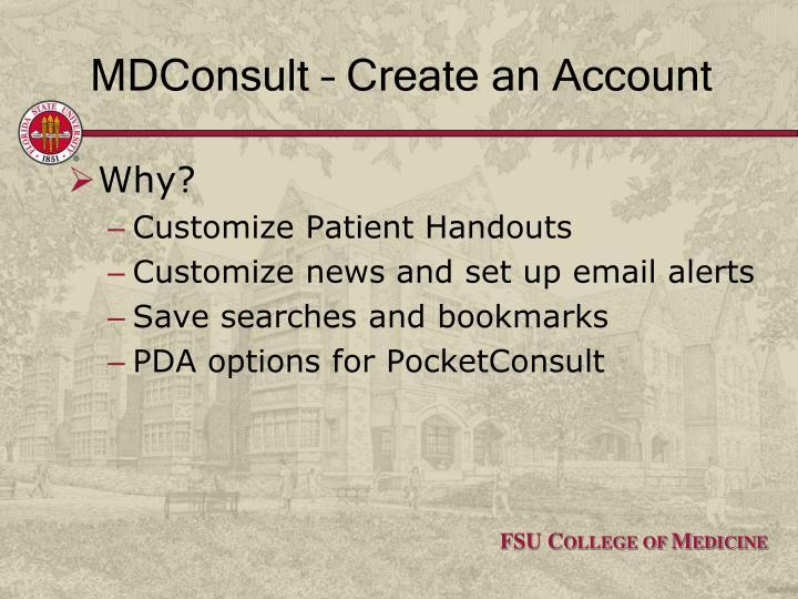 MDConsult – Create an Account