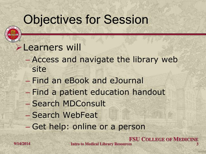 Objectives for session