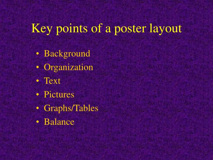 Key points of a poster layout