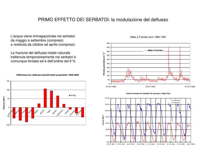 PRIMO EFFETTO DEI SERBATOI: la modulazione del deflusso