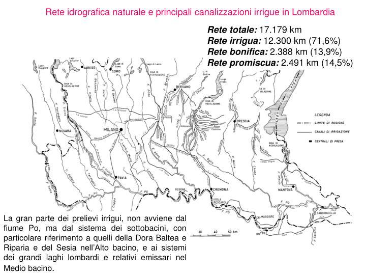 Rete idrografica naturale e principali canalizzazioni irrigue in Lombardia