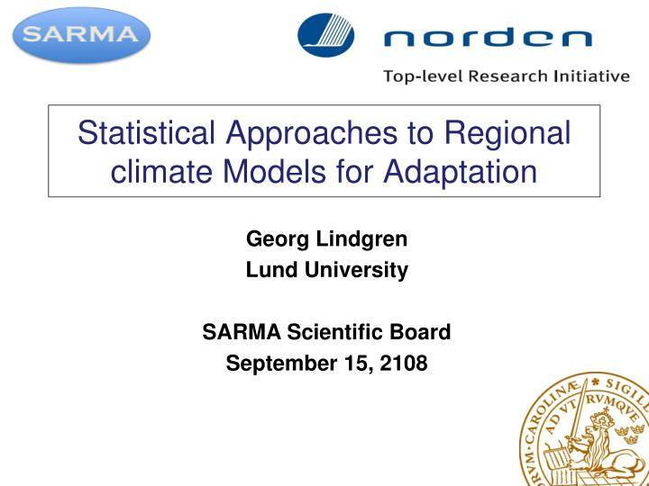 statistical approaches to regional climate models for adaptation n.