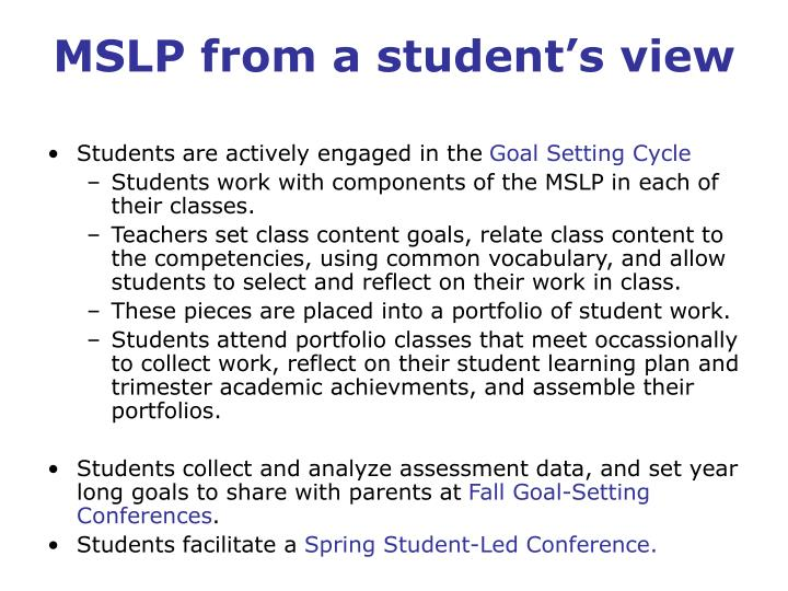 MSLP from a student's view
