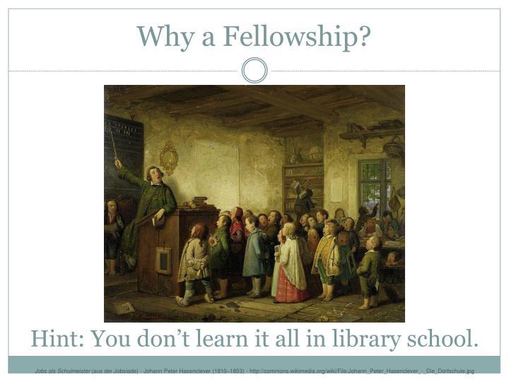 Why a Fellowship?