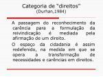 categoria de direitos durhan 1984