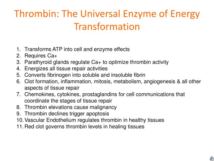 Thrombin: The Universal Enzyme of Energy Transformation