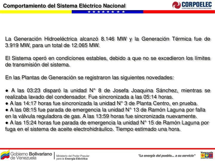 Comportamiento del Sistema Eléctrico Nacional