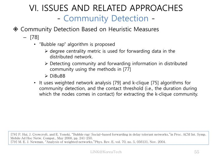 VI. ISSUES AND RELATED APPROACHES