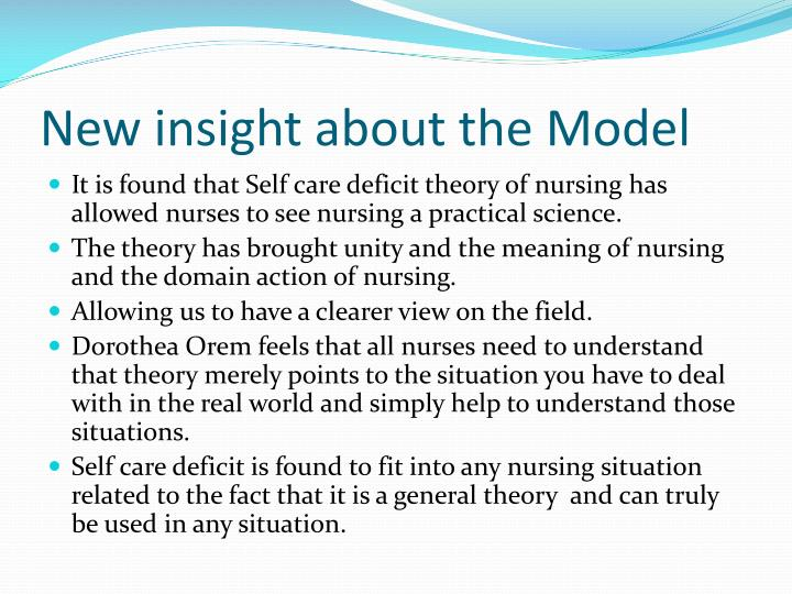 the self care deficit nursing theory essay