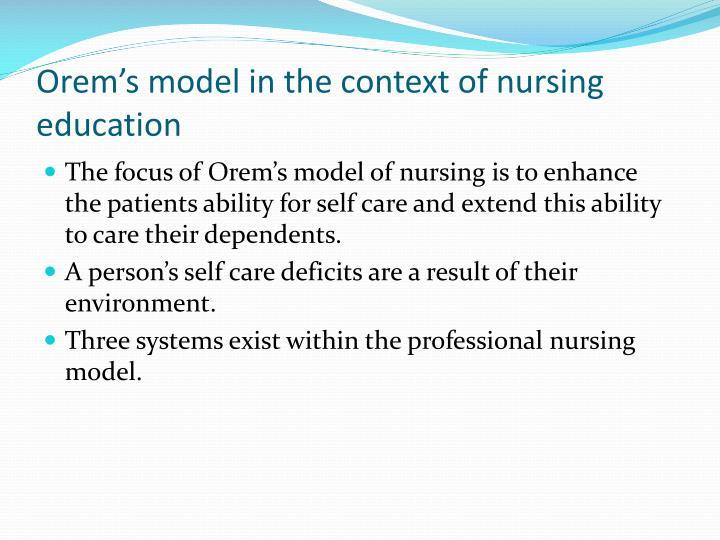 orems theory and family health nursing essay